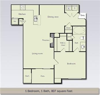 1 bedroom 1 bath 807 sq. ft
