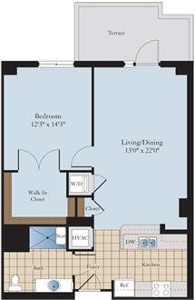 Sample Floor plan-Washer/Dryer, Stainless appliances, Navy Yard Metro walk!