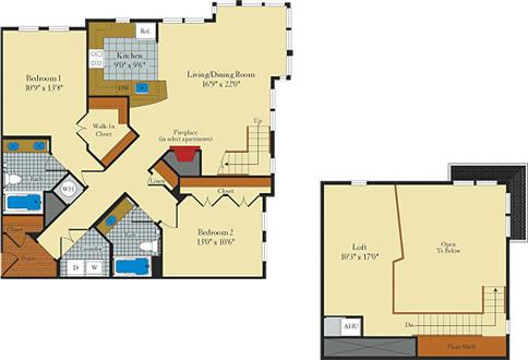 2 Bedroom, Loft (Sample Floor Plan) - Washer/dryer! Walk to metro!
