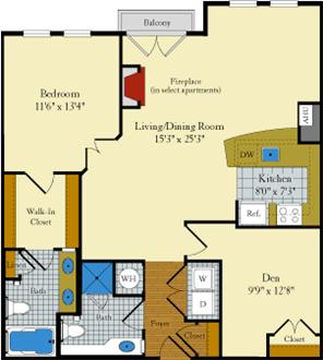 1 Bed, Den (Sample Floor Plan) - Washer/dryer! Walk to metro!