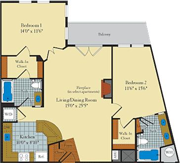 2 Bedroom (Sample Floor Plan) - Washer/dryer! Walk to metro!