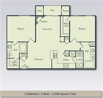 2 Bedroom, 2 Bath Large