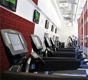 Fitness center furnished with cardio machines