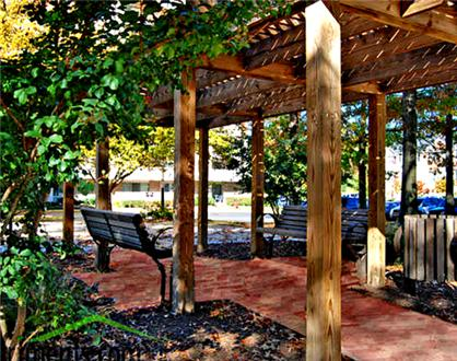 Outdoor gazebo and seating area